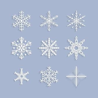 Zestaw ilustracji słodkie płatki śniegu