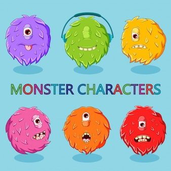 Zestaw ilustracji słodkie potwory