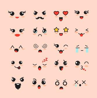 Zestaw ilustracji słodkie twarze, różne emotikony kawaii, ikony uroczych znaków emoji na białym tle.