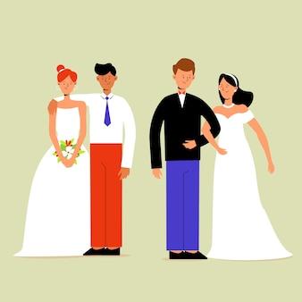 Zestaw ilustracji ślub pary
