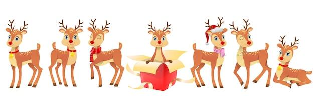 Zestaw ilustracji śmieszne jelenie boże narodzenie