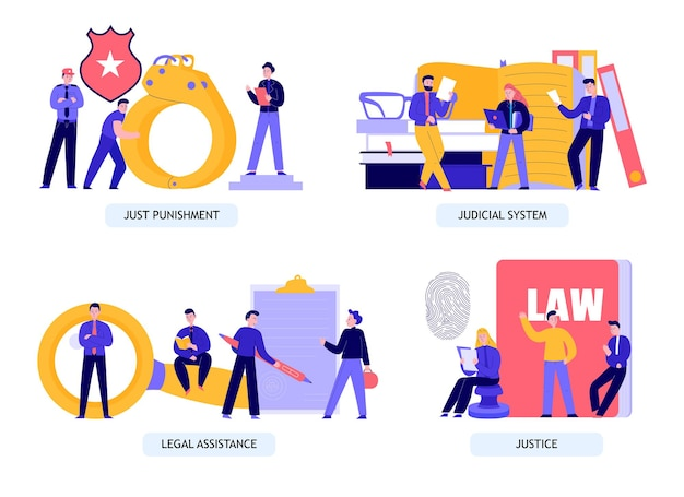 Zestaw ilustracji sprawiedliwości i prawa