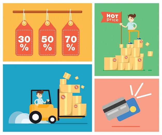 Zestaw ilustracji sprzedaży ze zniżkami