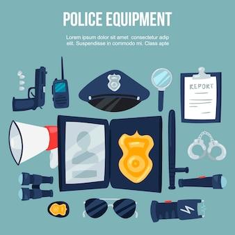 Zestaw ilustracji sprzęt bezpieczeństwa policji.