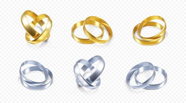 Zestaw ilustracji srebrne i złote obrączki ślubne