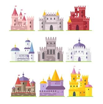 Zestaw ilustracji średniowiecznych zamków stare fortece cartoon ancient architecture