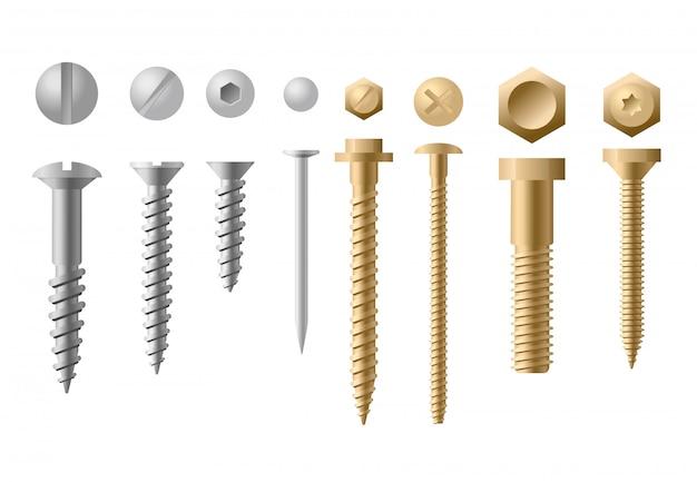 Zestaw ilustracji śrub różnych typów i kształtów w kolorze złotym i srebrnym na białym tle. kolekcja śrub, śrub, nakrętek i nitów. widok z góry iz przodu.
