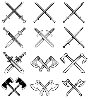 Zestaw ilustracji starożytnej broni