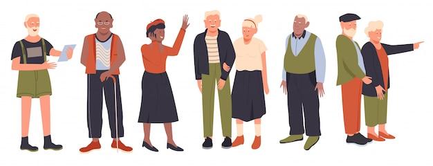 Zestaw ilustracji starszych osób, kreskówka aktywna stara kolekcja postaci mężczyzny kobiety na emeryturze szczęśliwych osób, pani i pan na białym tle