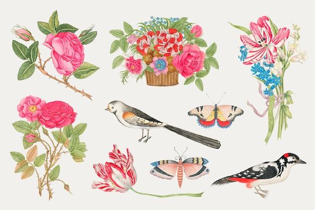 Zestaw ilustracji starych kwiatów i ptaków, zremiksowany z xviii-wiecznych dzieł sztuki z archiwum smithsonian.