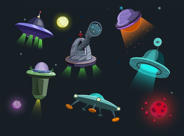 Zestaw ilustracji statków kosmicznych