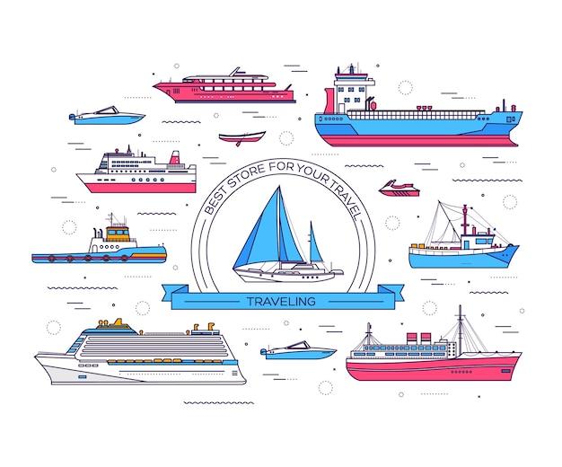 Zestaw ilustracji statku cienka linia