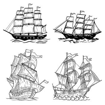 Zestaw ilustracji statku morskiego na białym tle. element projektu plakatu, koszulki, karty, godła, znaku, odznaki, logo.