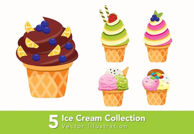Zestaw ilustracji stożek lody