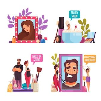 Zestaw ilustracji stylista kosmetyczka makijaż