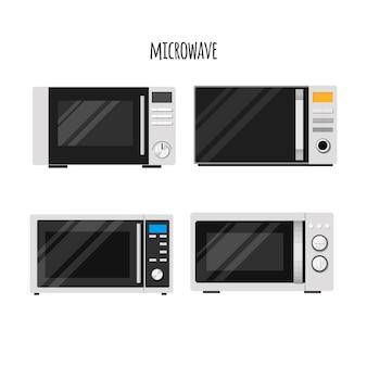 Zestaw ilustracji stylowe kuchenki mikrofalowe
