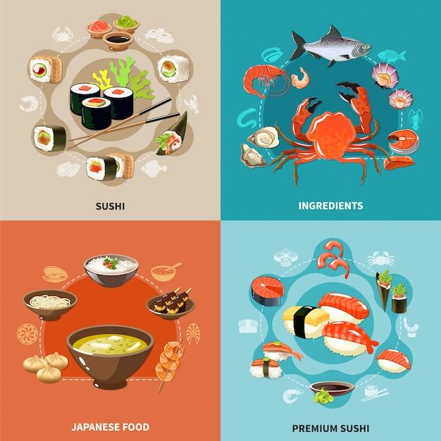 Zestaw ilustracji sushi