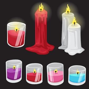 Zestaw ilustracji świecy
