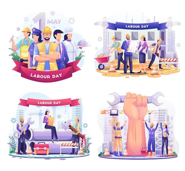 Zestaw ilustracji święto pracy ludzi różnych zawodów