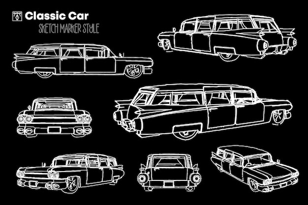Zestaw ilustracji sylwetka klasyczny samochód