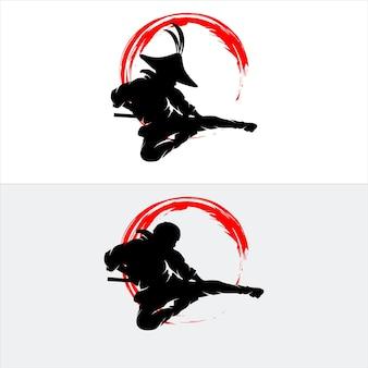 Zestaw ilustracji sylwetka ninja