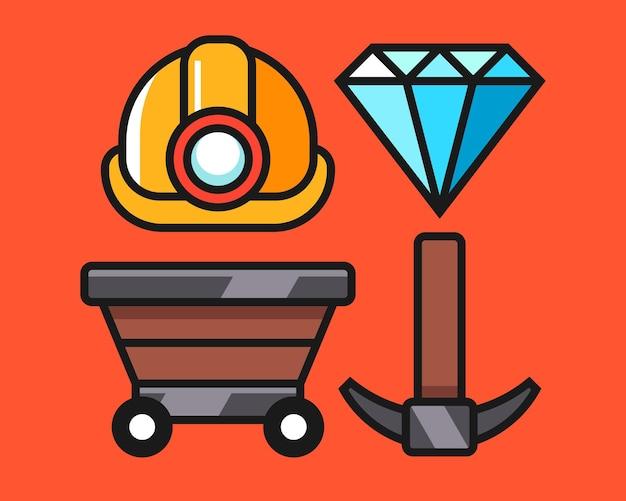 Zestaw ilustracji symboli górnictwa