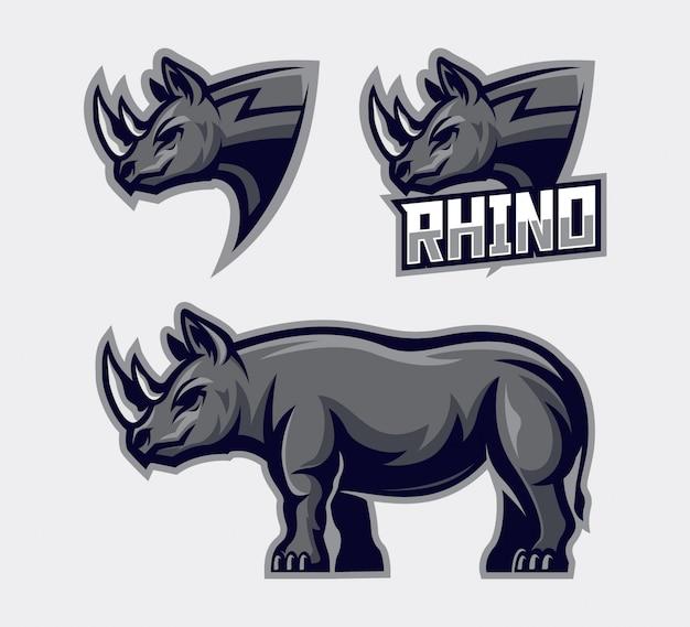 Zestaw ilustracji szablon nosorożca