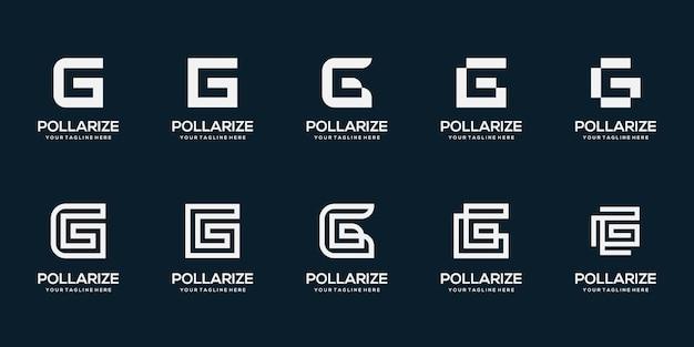 Zestaw ilustracji szablonu projektu logo streszczenie początkowa litera g