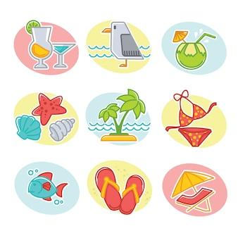 Zestaw ilustracji szczęśliwy czas letni
