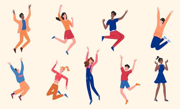 Zestaw ilustracji szczęśliwych ludzi, kreskówka mężczyzna kobieta młode postacie w zwykłych ubraniach bawić się, uśmiechać i skakać na białym tle