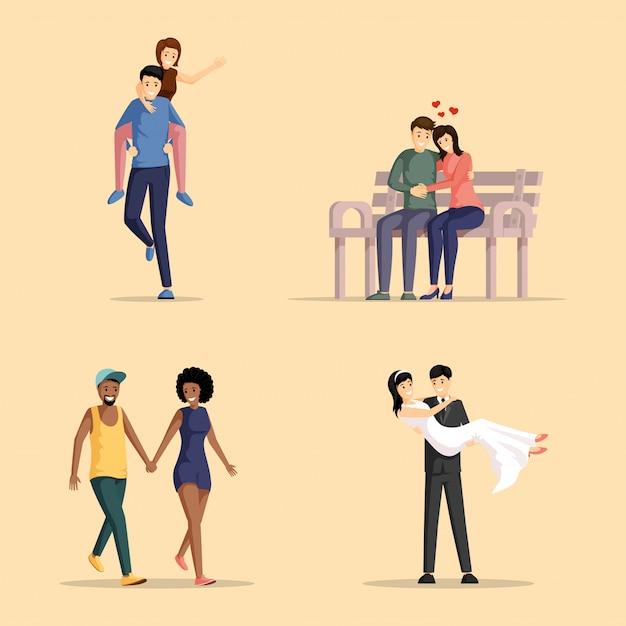 Zestaw ilustracji szczęśliwych par. zakochani mężczyźni i kobiety spajają razem postaci z kreskówek.