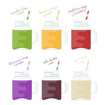 Zestaw ilustracji szklanych słoików z kolorowymi koktajlami. naturalna zdrowa żywność. witamina pije koktajl