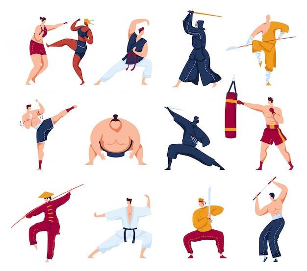 Zestaw ilustracji sztuk walki, kolekcja kreskówek z aktywnymi postaciami wojowników, osobami trenującymi lub walczącymi w kimono