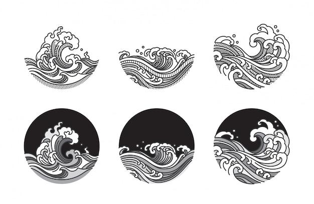 Zestaw ilustracji sztuki linii fala wody