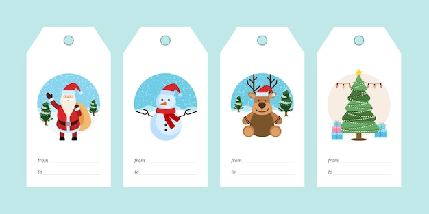 Zestaw ilustracji tagów prezent świąteczny