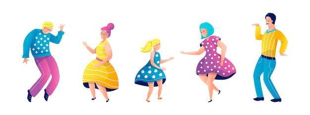 Zestaw ilustracji taniec rodziny