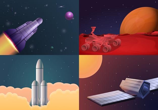 Zestaw ilustracji technologii nowoczesnych badań kosmicznych. ilustracja kreskówka nowoczesnej technologii badań kosmicznych