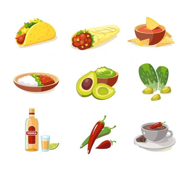 Zestaw ilustracji tradycyjnej kuchni meksykańskiej