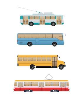 Zestaw ilustracji transportu nowoczesnych tras miejskich.