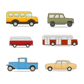 Zestaw ilustracji transportu retro