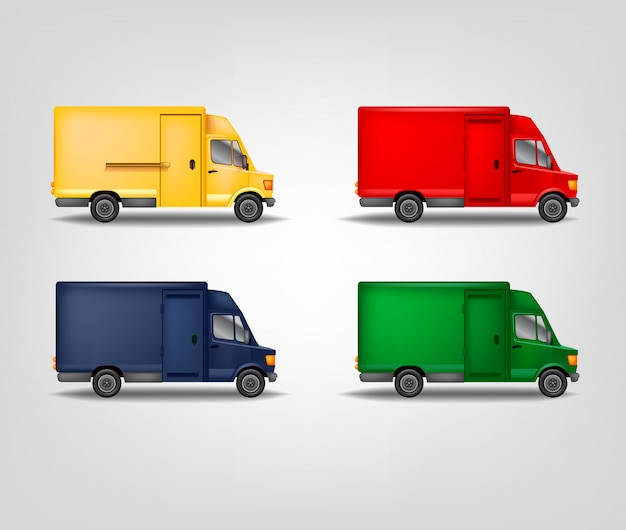 Zestaw ilustracji transportu transportowego. realistyczny van. kolorowa ciężarówka serwisowa. szablon dużych samochodów