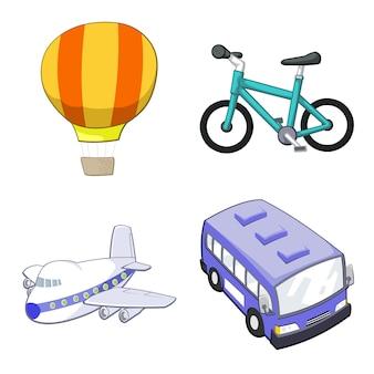 Zestaw ilustracji transportu