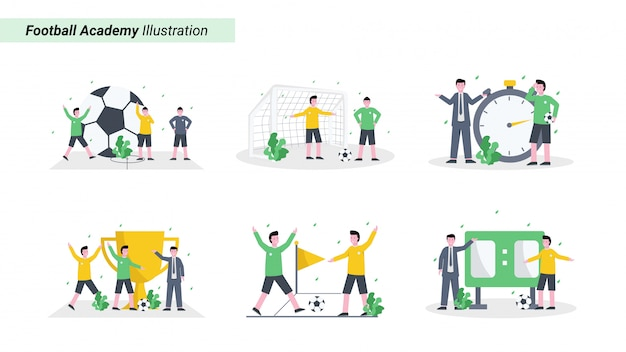 Zestaw ilustracji trenera trenuje uczestników akademii piłkarskiej, fizyczne, umiejętności i zdrowie