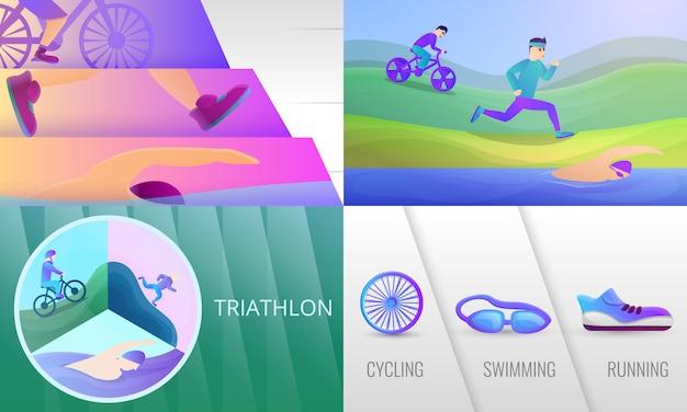 Zestaw ilustracji triathlon. ilustracja kreskówka triathlon