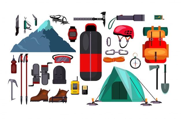 Zestaw ilustracji turystyka i aktywny tryb życia