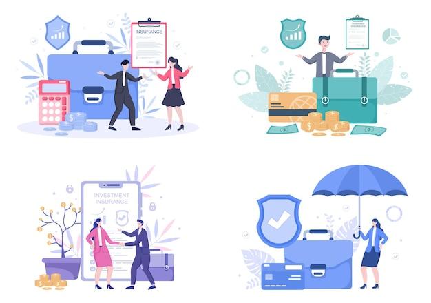 Zestaw ilustracji ubezpieczenia biznesowego
