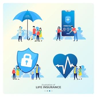 Zestaw ilustracji ubezpieczenia na życie