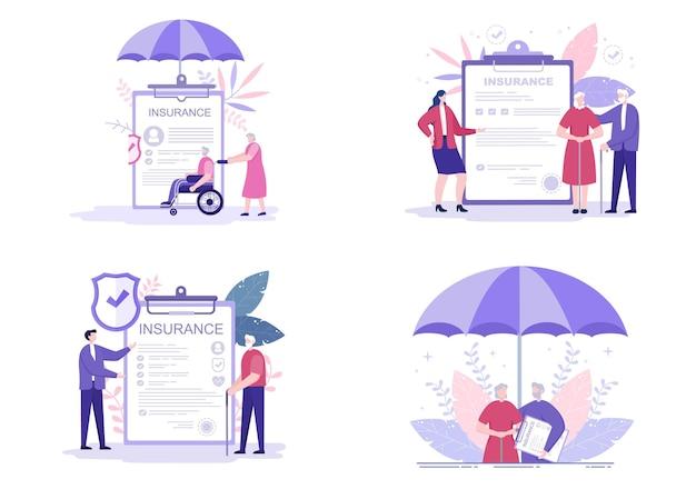 Zestaw ilustracji ubezpieczenia osób starszych