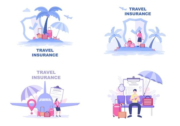 Zestaw ilustracji ubezpieczenia podróży i wycieczek
