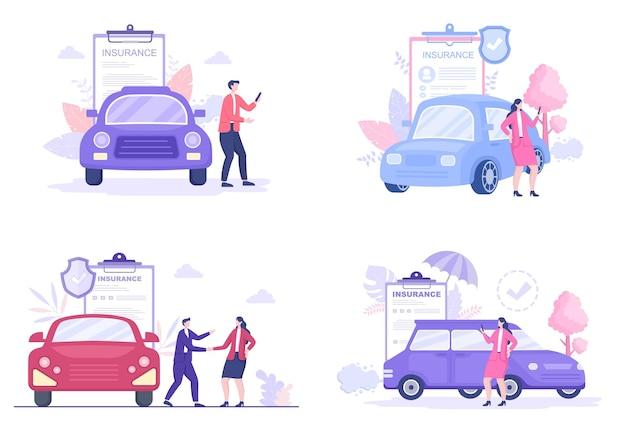 Zestaw ilustracji ubezpieczenia samochodu